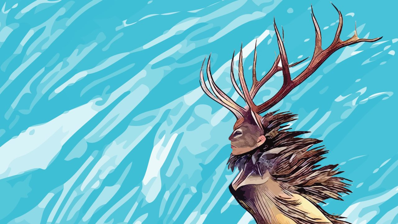 A stylized drawing of throat singer Tanya Tagaq in a deer costume