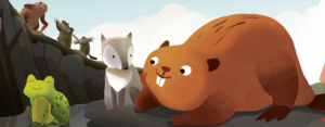An animated still of a beaver smiling with a frog and fox