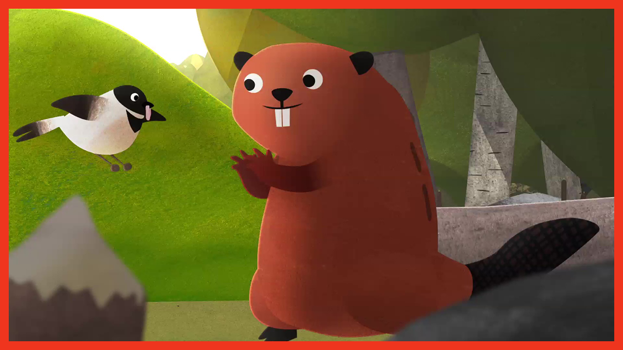 A still from the animated film Dam the story of Kit the Beaver